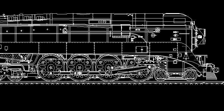 单个老式火车头侧面图