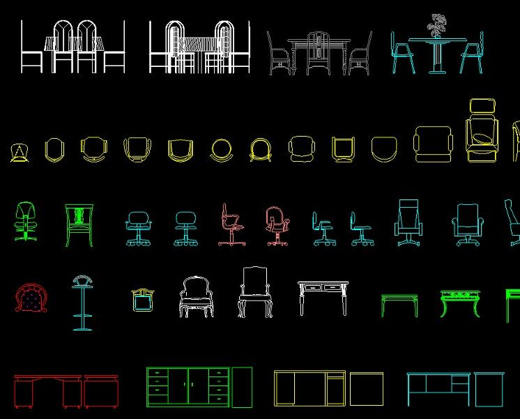 各类桌椅,柜子平面立面图