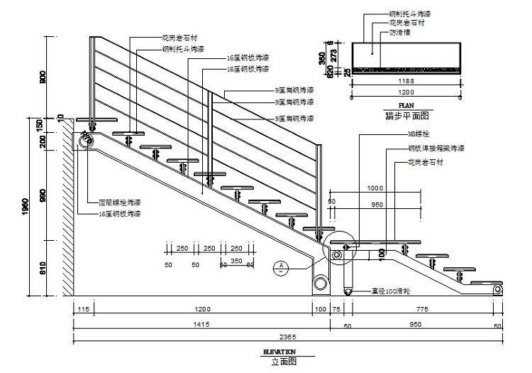 cad家装家具平面立面节点大样施工图纸 柜子楼梯背景