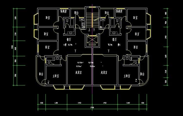 经典设计图CAD住宅房屋图纸平面设计矩形cad直角改成户型45度图片