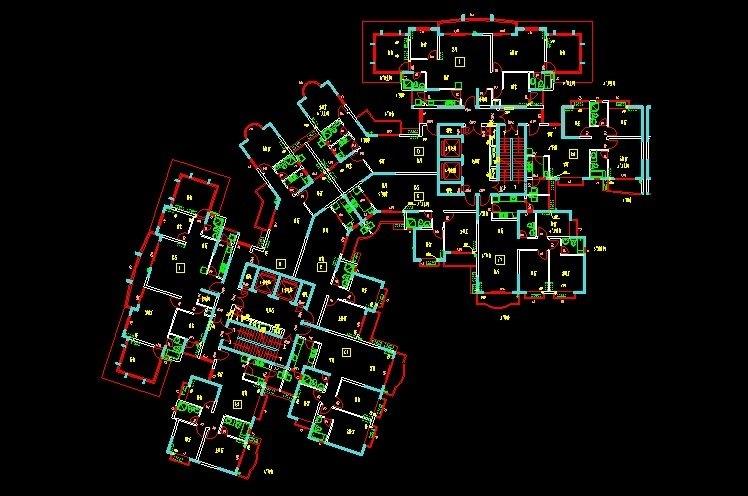 住宅小区施工平面图_房屋设计图CAD经典住宅户型平面设计图纸 - 迅捷CAD编辑器