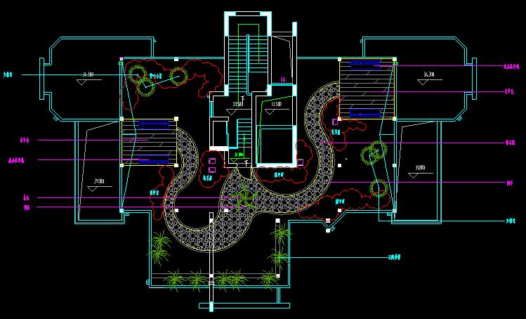 住宅小区施工平面图_CAD屋顶花园景观设计图施工图 - 迅捷CAD编辑器