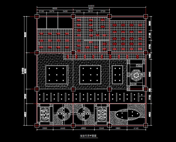 室内装潢设计某餐厅室内装潢设计图纸,包括建筑平面图,地面装饰平面图