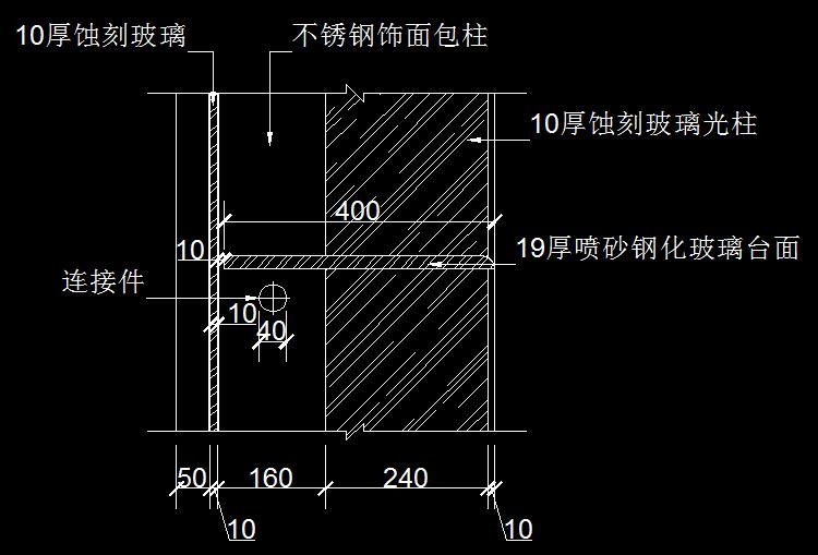 玻璃台面节点详图