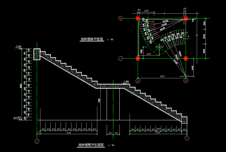 旋转楼梯剖面图