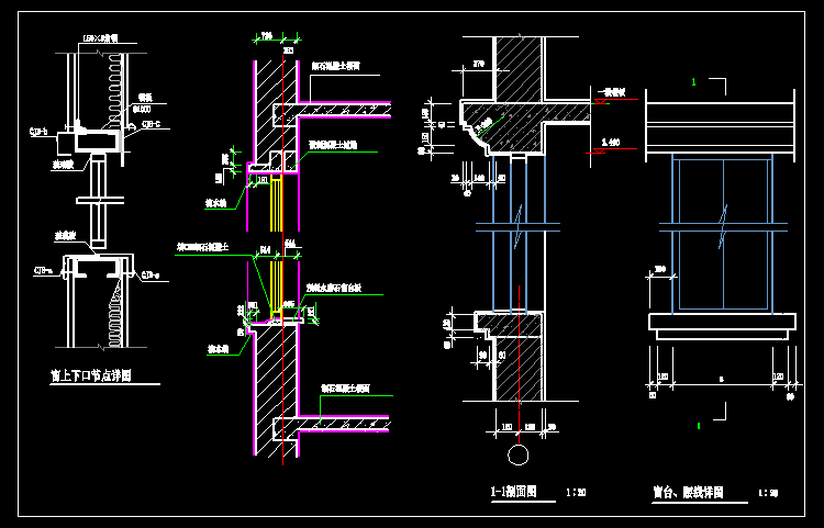 CAD精选阳台建筑构造图纸设计CAD建筑图集的房间带细部设计细部图片
