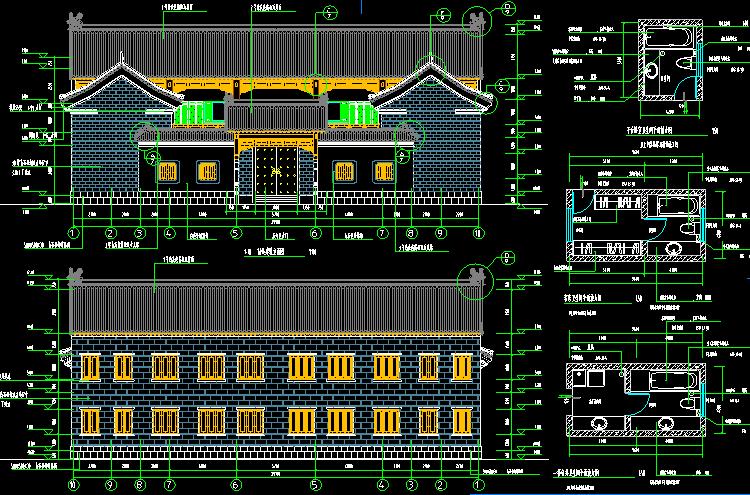 二层仿古四合院设计图2