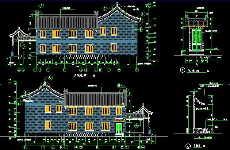 二层仿古四合院设计图3