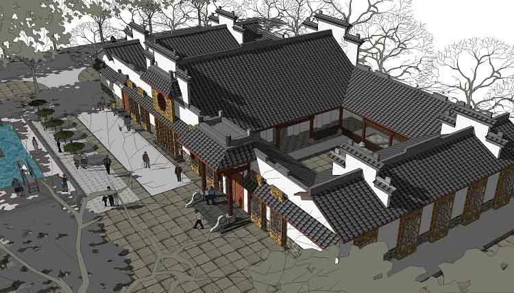 二层传统四合院设计