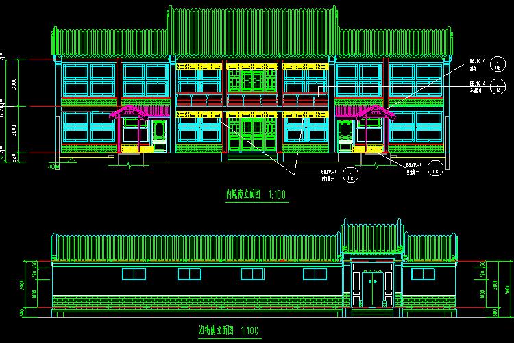 二层传统四合院设计图1