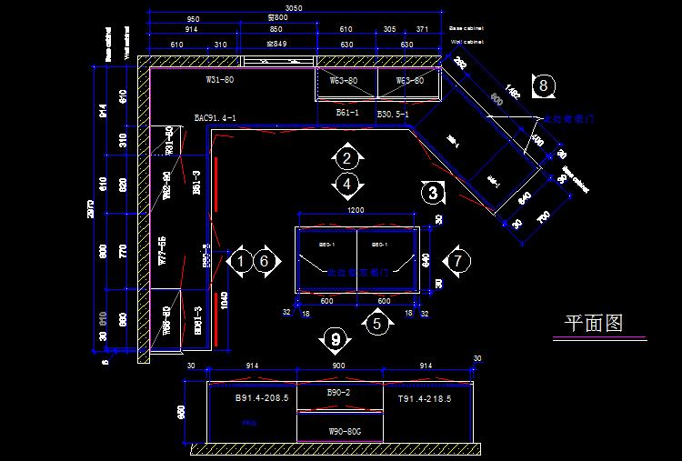 橱柜设计平面图