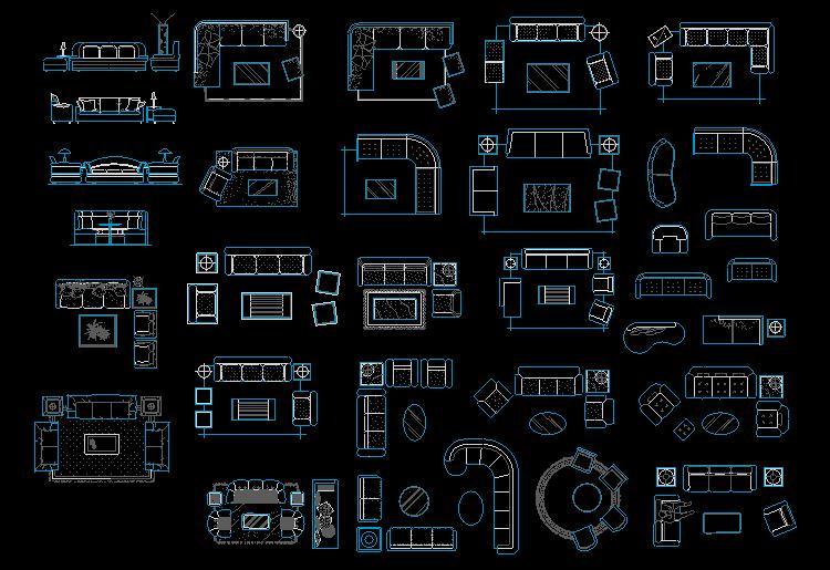 本素材为室内设计常用的cad平面立面图块图库,图块内容包括桌椅家具